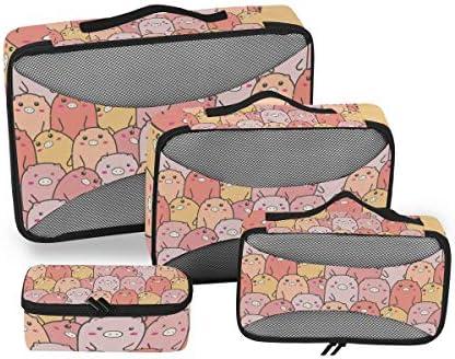 水彩動物ピンクピッグピギー荷物パッキングキューブオーガナイザートイレタリーランドリーストレージバッグポーチパックキューブ4さまざまなサイズセットトラベルキッズレディース