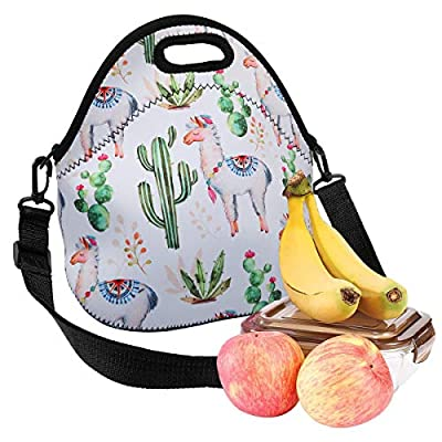 Violet Mist Insulated Neoprene Lunch Bag Thermal Tote Shoulder Strap Waterproof Outdoor Picnic Large Capacity Travel Handbag Lunch Box, Cactus Alpaca 1: Kitchen & Dining