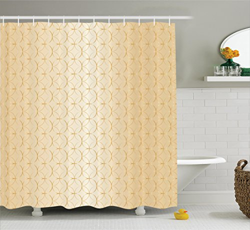 Ambesonne Beige Shower Curtain, Linked Circle and Diamond Shape Motifs Geometric Abstract Contemporary Pattern, Fabric Bathroom Decor Set with Hooks, 70 Inches, Brown Pale (Abstract Geometric Diamonds)