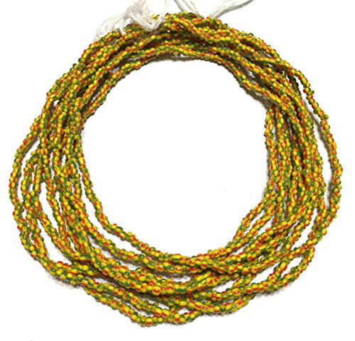 Vintage Ghana red yellow and green stripe waist seed Beads Glass African Trade ()