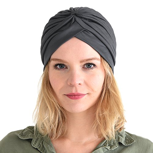 Gipsy Costume Accessories (CHARM Casualbox | Twist Pleated Head Wrap Turban Bonnet Fortune Teller Hat Retro Vintage Dark Gray)