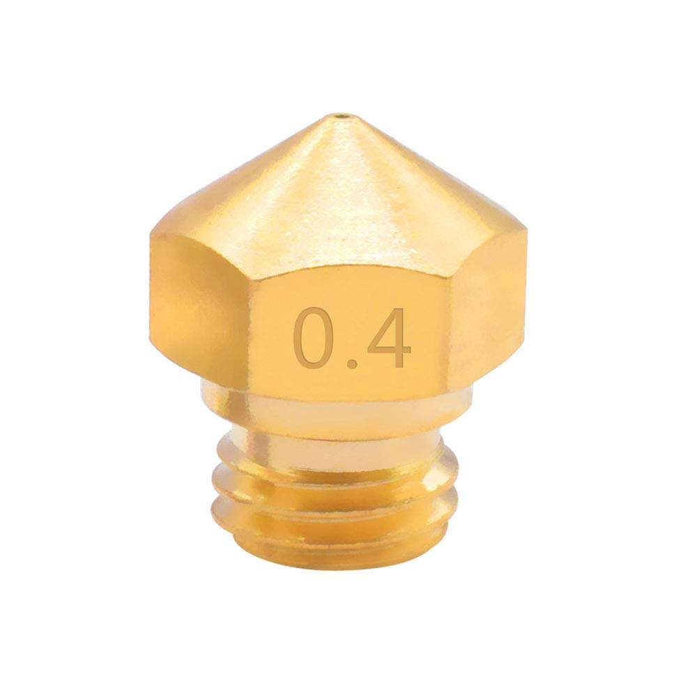 Samje MK10 3D Printer Extruder Brass Nozzle 0.4mm M7 Threaded for 1.75mm Filament FlashForge Wanhao CTC Makerbot 2(Pack of 2 pcs)