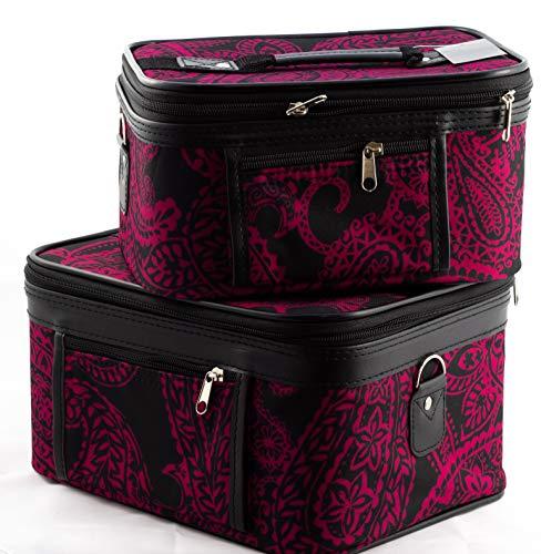 Uni Collections 2-Piece Make up Case Set (Paisley Print Pink)