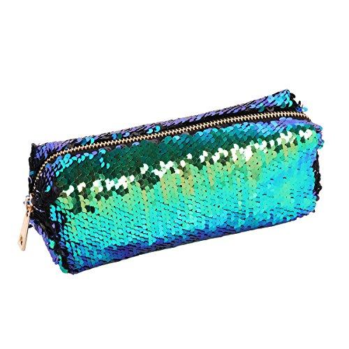 (YiZYiF Magic Mermaid Sequin Cosmetic Pouch Girl's Glitter Pencil Case Reversible Double Color Fantasy Handbag Green&Black One Size)