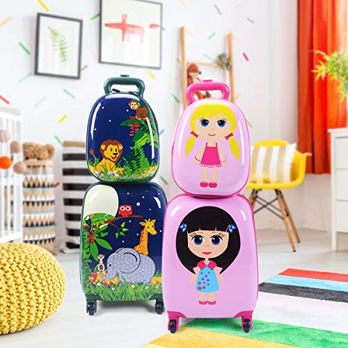 """Goplus 2Pc 12"""" 16"""" Kids Carry On Luggage Set Upright Hard Side Hard Shell Suitcase School Travel Trolley ABS (Elephant & Lions)"""