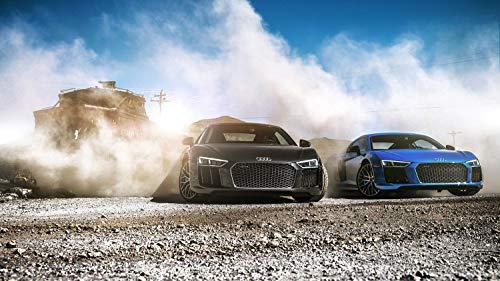 (Audi R8 V10 Plus 2019 2 Car Poster Print (24x36 Inches))