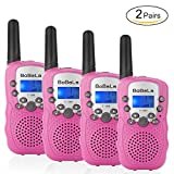 Bobela T388 Best Friendly Walkie Talkies as Thanksgiving Day Gifts for Girls Women / Two Way Radio Toys for Kids Hiking / Cute Long Range Walky Talkie with Lamp for Home Car Wedding ( Pink 4 Pack )
