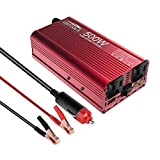 EBTOOLS Car Power Inverter, 500W Inverter 12V DC to 110V AC Car Converter with 2 AC Outlets and 2.1A USB port for Laptop, Smartphone, Household Appliances in case Emergency Storm and Outage