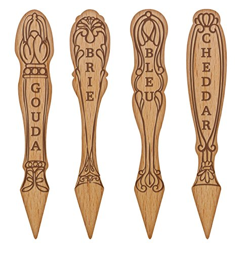 Talisman Designs Get Real Beechwood Cheese Marker Set, Vintage Design
