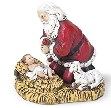 25 kneeling santa christmas ornament with baby jesus