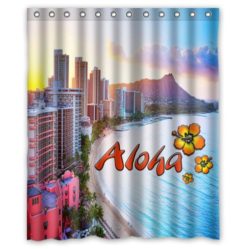 Special Design Hawaii Aloha,Beautiful Beach Waterproof Bathroom Fabric Shower Curtain,Bathroom decor 60'' x 72'' by Hawaii Aloha Curtain