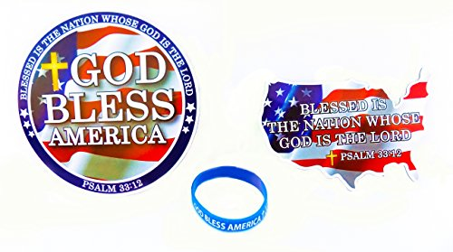col-p Super Holy Combo 2 God Bless America Bracelet + 1 Blessed is the Nation Auto Magnet + 1 God Bless America Auto Magnet by col-p