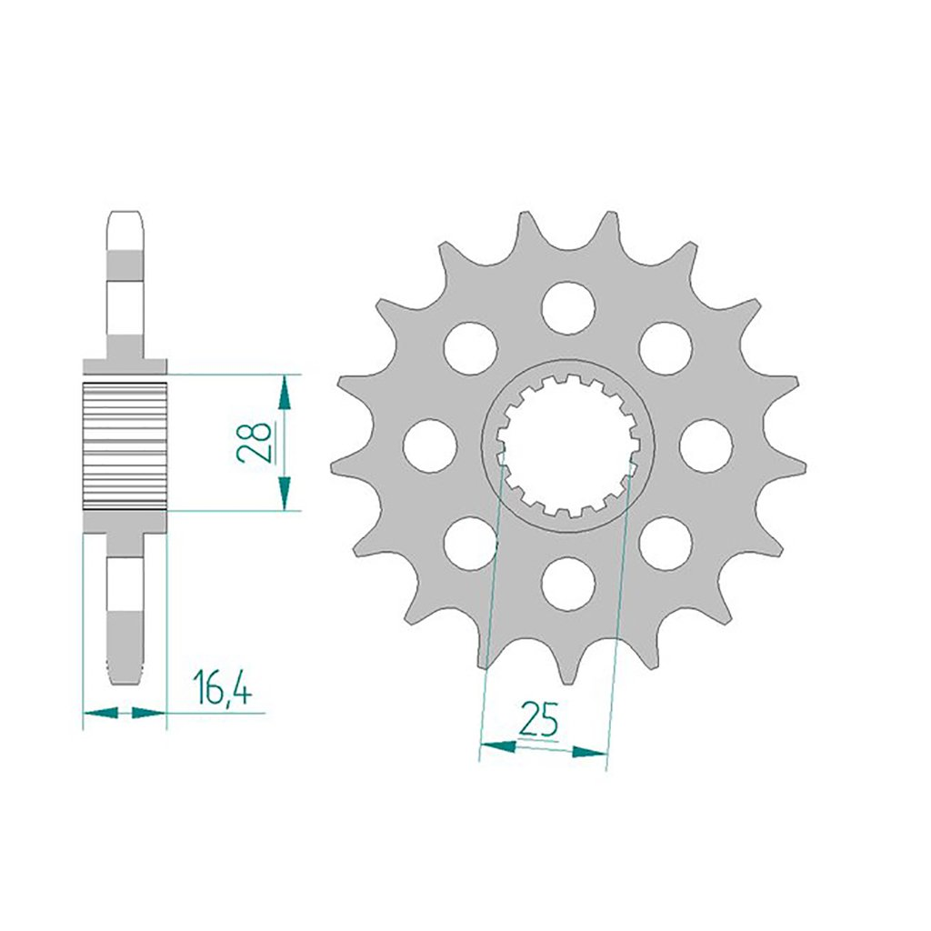 Piñ ó n 61800 –  16 # 525 KTM LC8/RC8 para KTM Adventure/R ABS 2013 > | KTM Adventure/S 950 lc8-d 2003 –  2006 | KTM Adventure R/S 990 2007 –  201