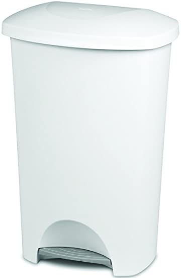 Sterilite Step On Wastebasket   11 Gallon Capacity   Solid Color With White  Lid