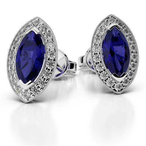 Or blanc/or/Rose/Jaune/Or/Platine forme marquise saphir et diamant Boucles d'oreilles ager-1069-vsgh