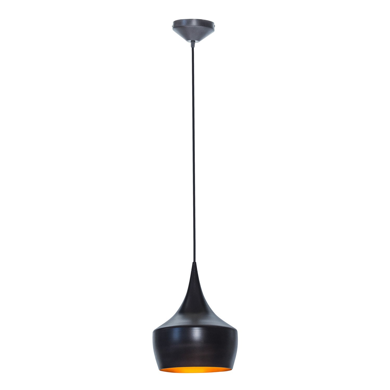 Globe Electric 1-Light Small Modern Industrial Pendant, Oil Rubbed Bronze, Gold Inner Finish, 1x A19 60W Bulb (sold separately), 63871