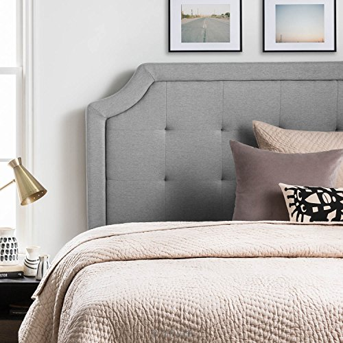 LUCID Bordered Upholstered Headboard with Square Tufting and Scalloped Edges Queen Stone