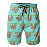 Men's Sleepy Sloths Quick Dry Lightweight Fashion Board Shorts Swim Trunks XXL