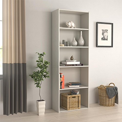 (RealRooms Tally 5 Shelf Bookcase, White)