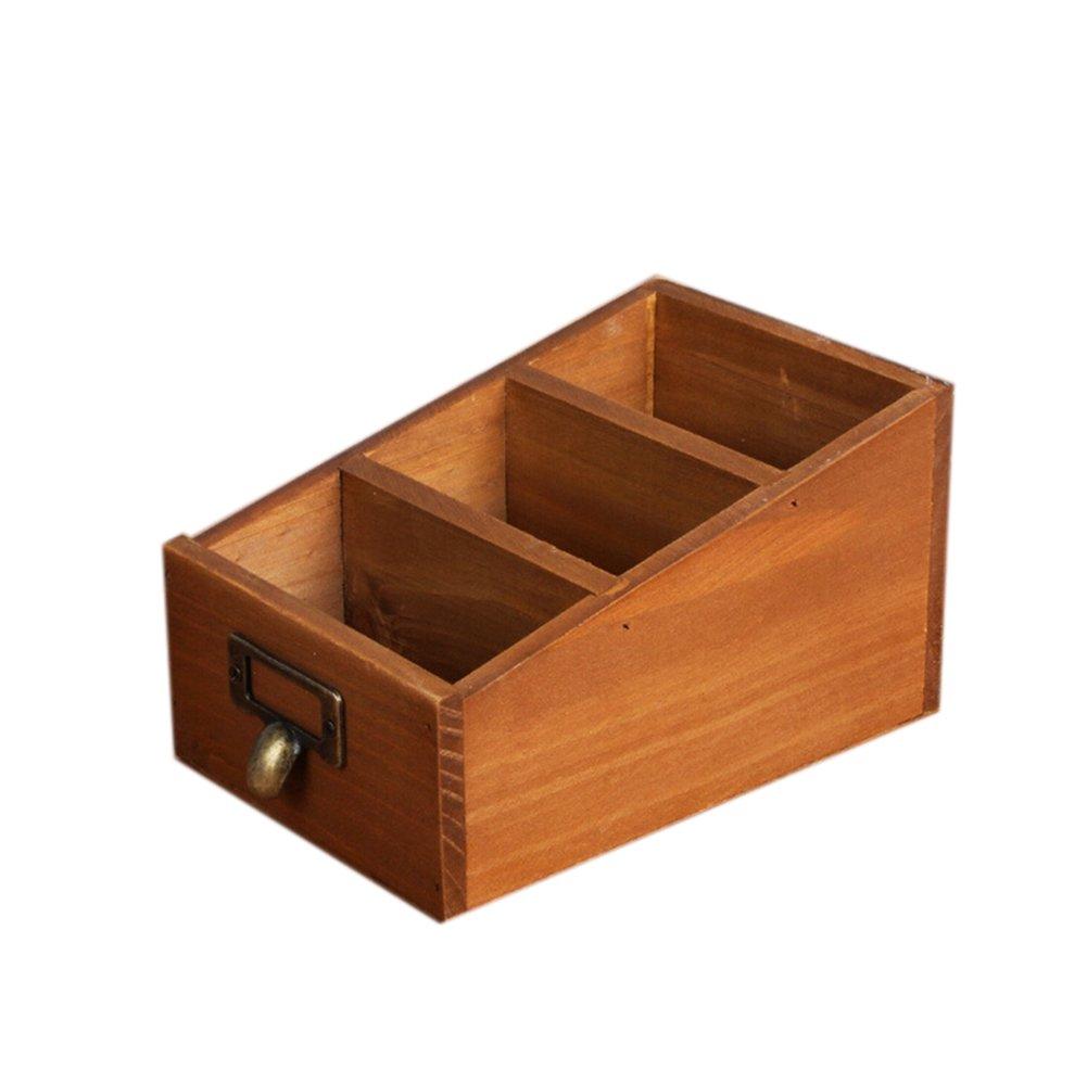 t/él/écommande stylos t/él/éphone portable Kentop Organisateur de bureau en bois Organisateur de bureau avec 3 compartiments pour cosm/étiques