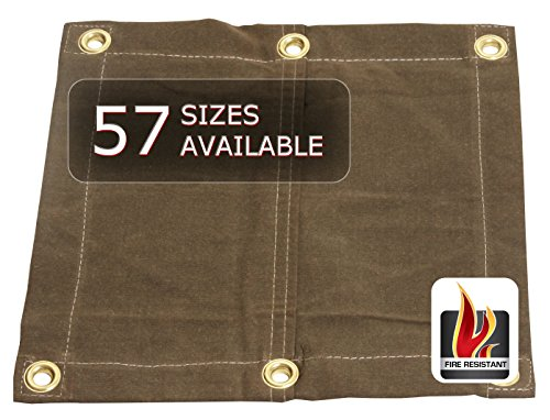 8x10 Flame Resistant 18oz with 2' Grommets - Heavy Duty Canvas Tarp - Flame, Water, Mold and Mildew Resistant (Flame Retardant Canvas)