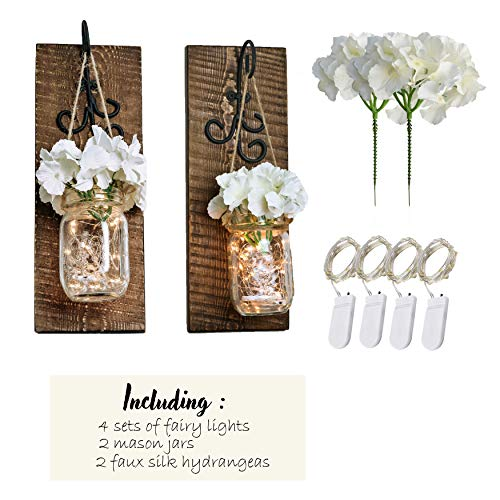Bleecker Station Rustic Mason Jar Sconces with LED Fairy Lights, Silk Hydrangea Flowers and Decorative Hooks, Batteries Included, Mason Jar Lights, Rustic Home Decor (Set of 2) (Distressed -
