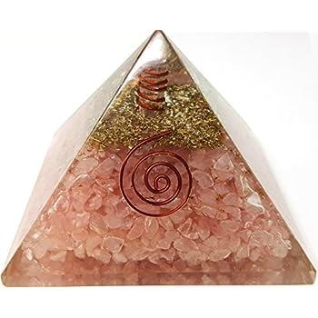 Rose Quartz Crystal Orgone Reiki Pyramid Kit / Includes 4 Crystal Quartz Energy Points / EMF Protection Meditation Yoga Energy Generator