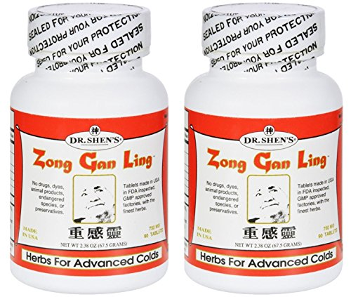 Dr Shen's Zong Gan Ling Severe Flu (Pack of 2) Symptomatic Relief, Useful for Head Cold Or Flu, Relieves Sore Throat, Nasal Congestion, Body Aches, Fever and Chills, 90 Tablets Each