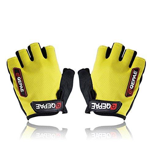 QEPAE Non-Slip Gel Pad Gloves Men's Women's Sportswear Cycling Riding Gloves Ultra breathable Half Finger Gloves, Size XL, (Ladies Ultra Riding Gloves)
