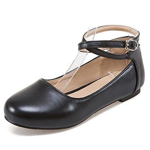 Easemax Womens Punta Rotonda Cinturino Alla Caviglia Strappy Cinturino Con Cinturino Alla Caviglia Scarpe Con Cinturino Nero