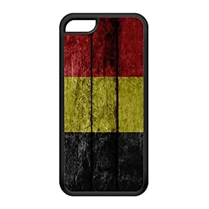 Grunge Wood Flag of Belgium - Belgian Flag - Vlag van Belgie Black Silicon Rubber Case for iPhone 5C by UltraFlags + FREE Crystal Clear Screen Protector