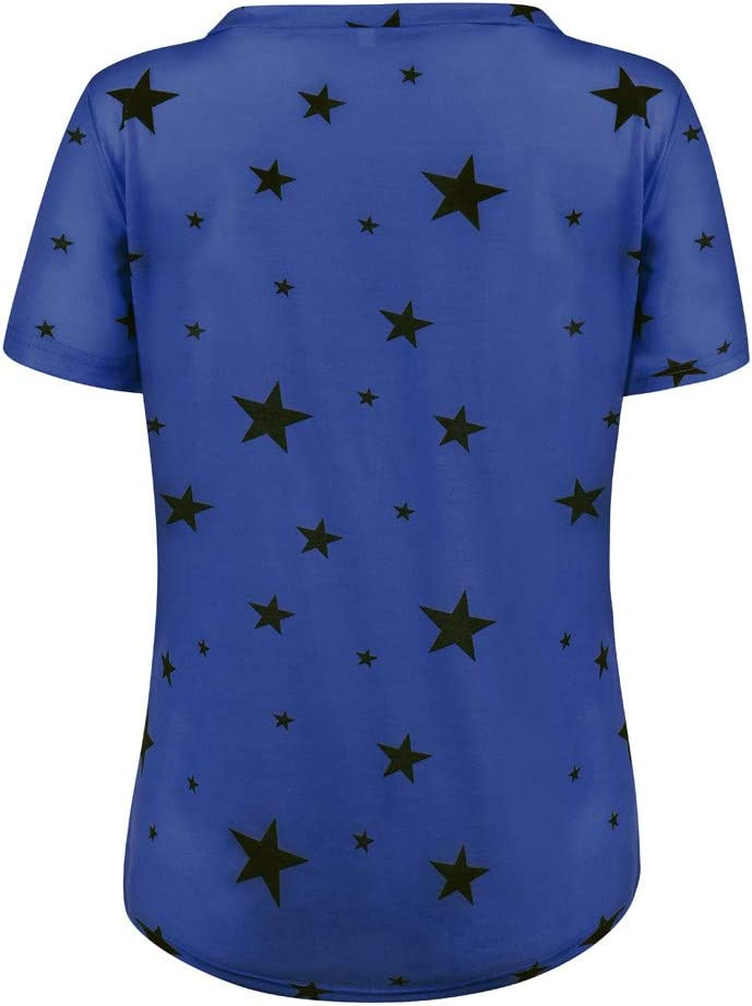 Womens Casual V-Neck T-Shirt Fashion Star Print Short Sleeve Blouse Soft Stretchy Pullover Tee Tops