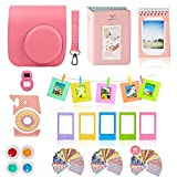 Fujifilm Instax Mini 9 Camera Accessories Bundle, Fuji 11 PC Kit Includes: FLAMINGO PINK Instax Case + Strap, 2 Albums, Filters, Selfie lens, Magnets + Hanging + Creative Frames, 60 stickers, Gift Box