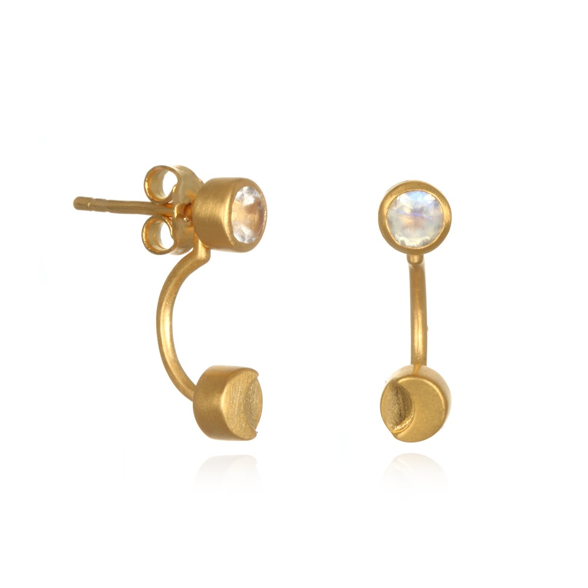 Satya Jewelry Moonstone Gold Plate Moon Phase Jacket Earrings