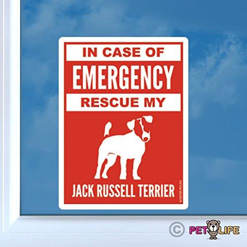 se Emergency Rescue My Jack Russell Terrier Sticker Vinyl Auto Window #2 Dog Safety JRT Parson ()