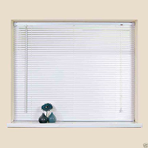 Easy-Fit PVC Venetian Window Blinds Trimmable Home Office Blind New (White, 120cm x 210cm)