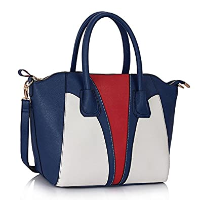 002cdd6cacd Navy White Red Ladies Designer Handbag with Contrast Stitching Twin ...