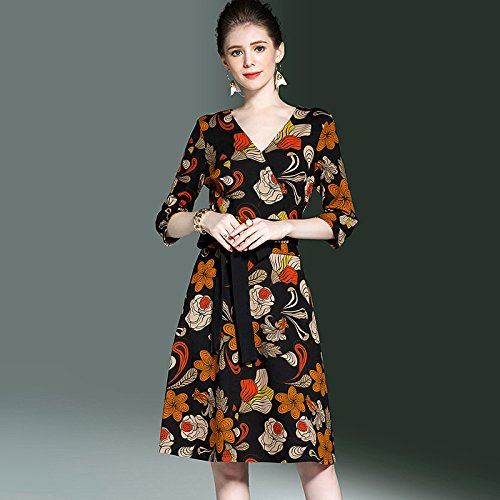9f30cdb3ca67 Wanglele Large Size Women S Large Size Women S Dress V Neck Seven Sleeves  Printed Woman