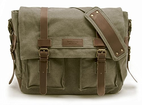 Classic Messenger Bag Backpacks - Sweetbriar Classic Laptop Messenger Bag, Olive Drab - Canvas Pack Designed to Protect Laptops up to 15.6 Inches