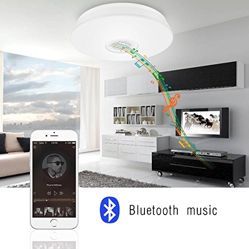 LE 24W Dimmable LED Music Ceiling Lights with Bluetooth Speaker, Cellphone APP Control, RGBW,3000K-6000K Color Temperature, 1500lm, Equal 180W Incandescent/50W Fluorescent, Flush Mount Light by Lighting EVER (Image #5)