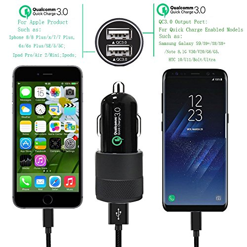 Quick Charge 3.0 Car Charger 40W Car Adapter with Dual QC USB Ports with 1-Pack 3.3ft Type C Cord for Samsung Galaxy Note 8 S9 S8 S8 Plus S7, iPhone X 8 8 Plus, iPad Pro 2017, Google Pixel and More by CovertSafe (Image #1)