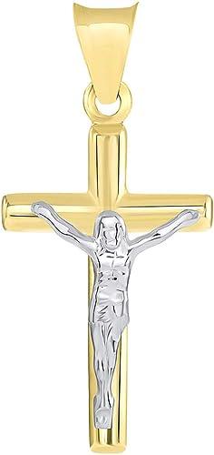 14k Two Tone Gold Small Latin Cross Crucifix Pendant Necklace