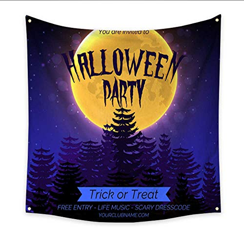 Wall Hanging Tapestry Halloween Party Invitation Poster Template with Dark Forest Full Moon and Place for Text Dorm Living Room Bedroom 47W x 47L Inch ()