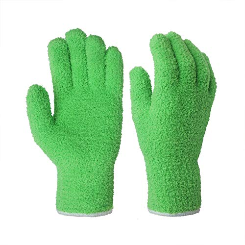 EvridWear Microfiber Auto Dusting Cleaning Gloves for Cars and Trucks, Dust Cleaning Gloves for House Industrial Chrome Parts, Perfect to Clean Mirrors, Lamps and Blinds Finger-Prints Smudges(L/XL) (Microfiber Blind Cleaner)