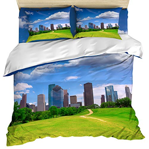 USA Aluminum 4 Piece Bedding Set Comforter Cover Duvet Cover Set Twin Size, Houston Texas Modern City Skyscrapers Buildings Clouds Sky View, Bedspread Daybed with Zipper Closure 2 Pillow Sham Cases ()