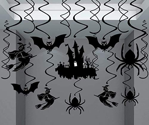 Halloween Hanging Swirls, KissDate 30Pcs Halloween Haunted House Hanging Swirl, Perfect for Hanging Ceiling Window Wall Party Decor Supplies