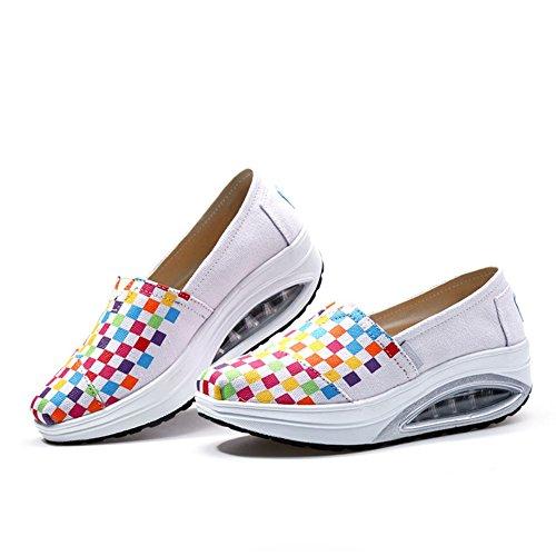 Ciabatta Primavera Estate Piattaforma Cuneo Viaggio Sneaker Per Le Donne Esercizio Slip On Scarpe Sportive Bianche