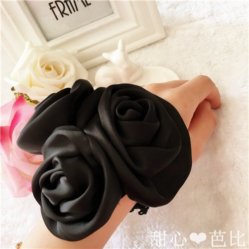 - usongs Pure black leather rose hair band hair rope camellia small fragrant wind ponytail clip hair jewelry