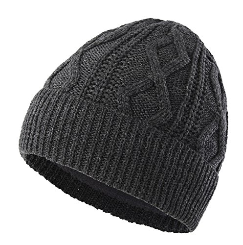 Connectyle Men's Fleece Lined Cable Knit Beanie Hat Thick Warm Winter Hats Cuff Beanie Skull Cap, Grey, Large