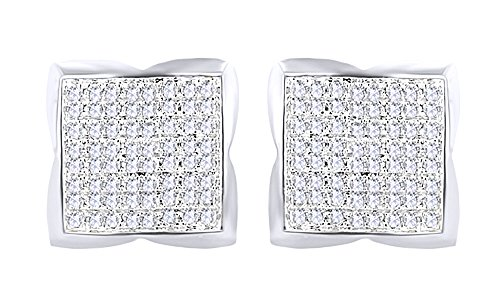 14K Solid Gold Round Cut Natural Diamond Hip Hop Cluster Stud Earrings (0.73 Cttw) by wishrocks